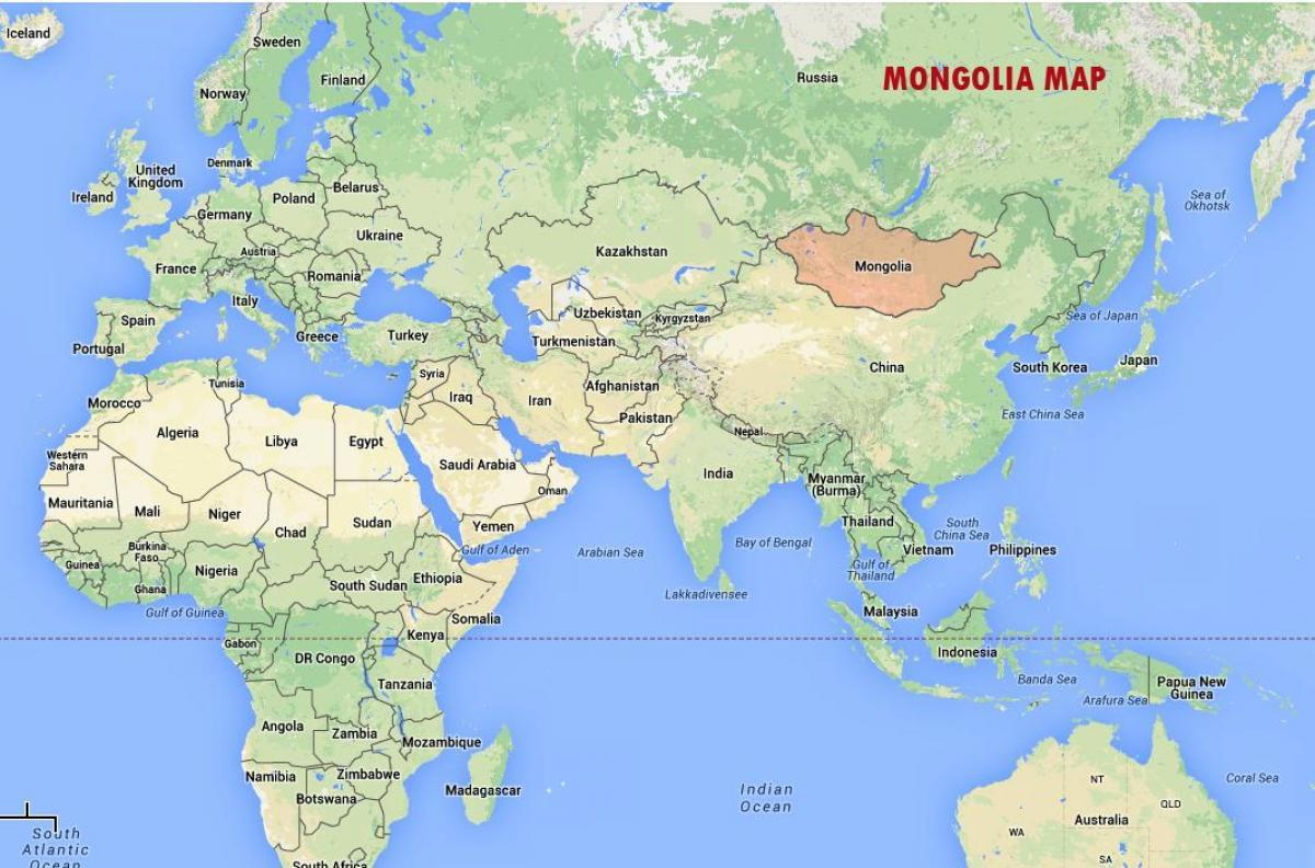 Mongolia on world map - World map showing Mongolia (Eastern ... on burundi on world map, second life map, south sudan world map, all around the world map, world globe map, world wide map, world time zone map, italy on world map, spain on world map, rugby world cup map, in world history, ireland on world map,