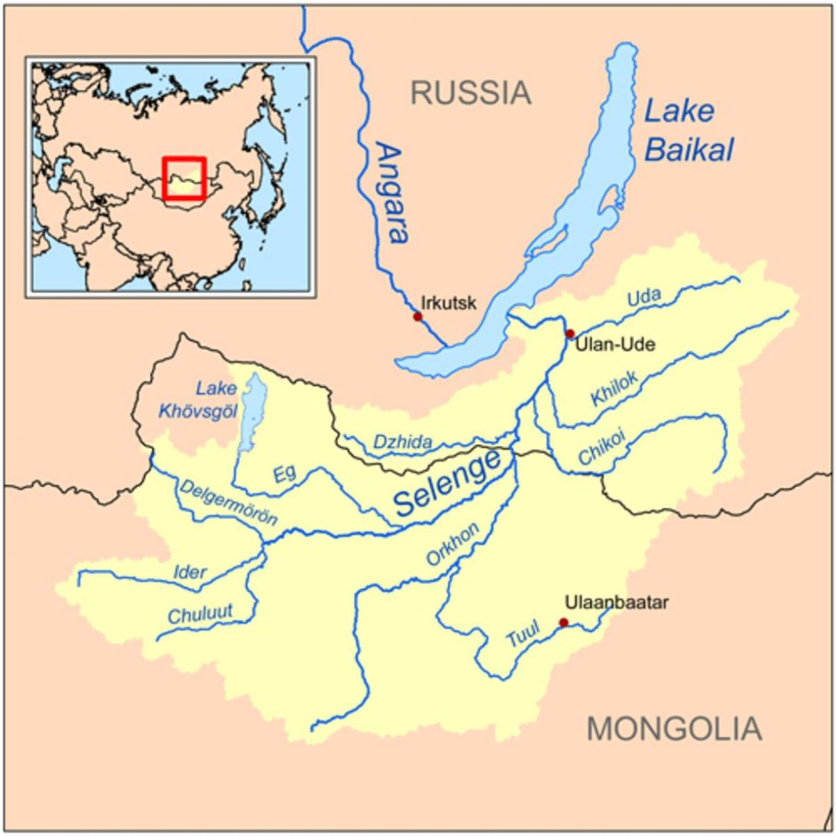 map of Mongolia river