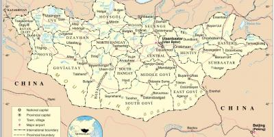 Map of Mongolia and surrounding countries - Mongolia country map ...